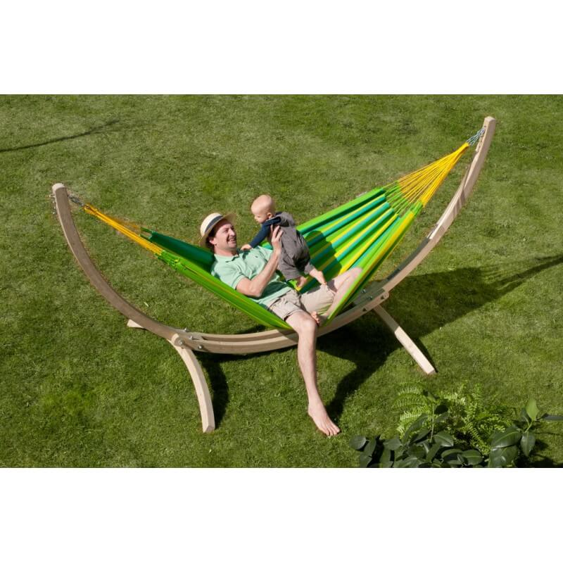 hammock sonrisa lime with wood stand. Black Bedroom Furniture Sets. Home Design Ideas