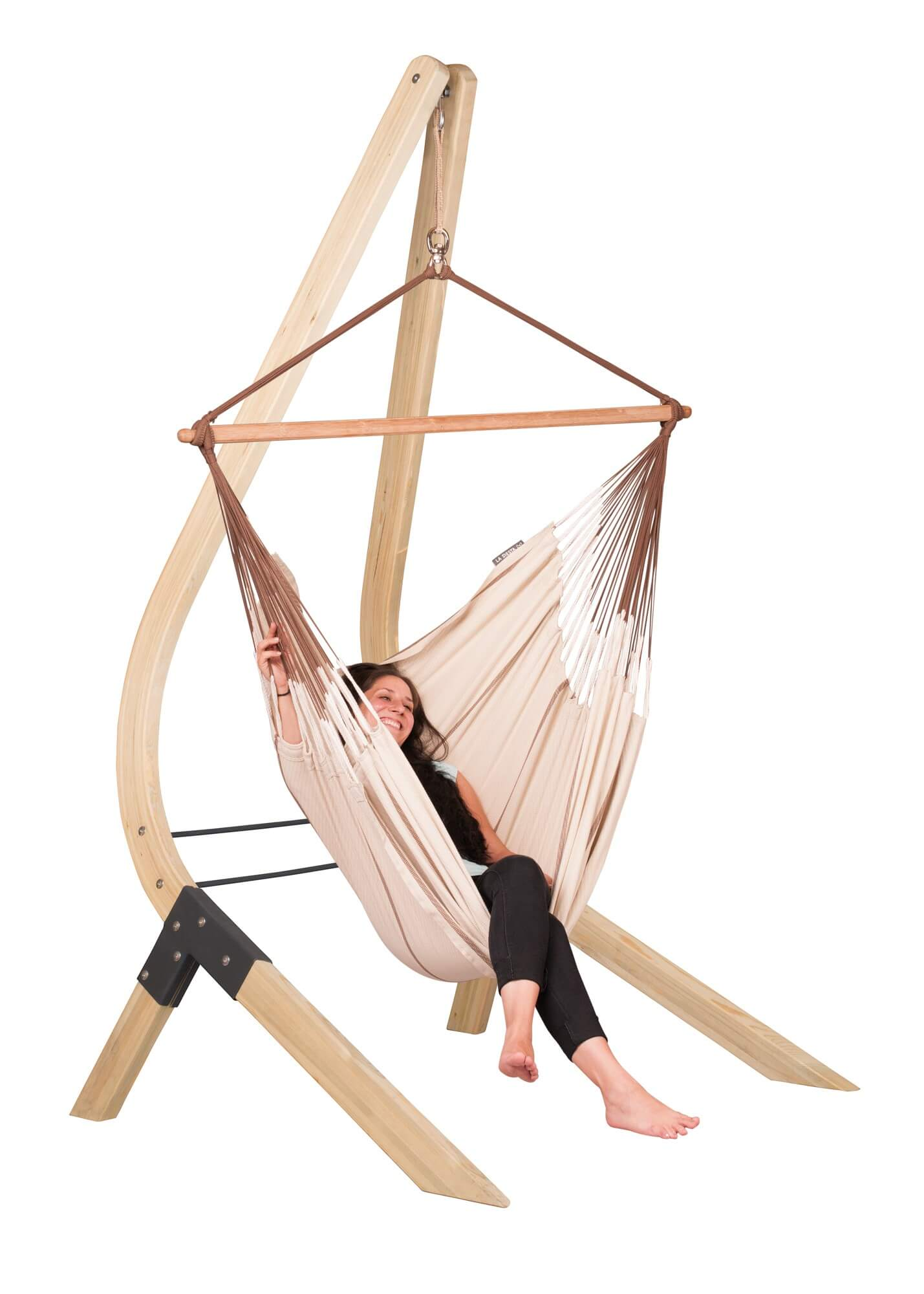 Hammock Chair Habana Nougat With Wooden Stand