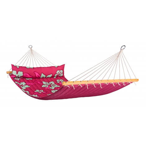 Double Hammock with spreader bars HAWAII hibiscus